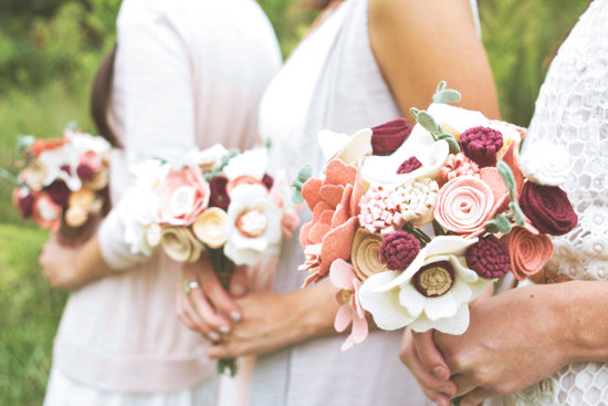 romantic felt bouquets for bridesmaids