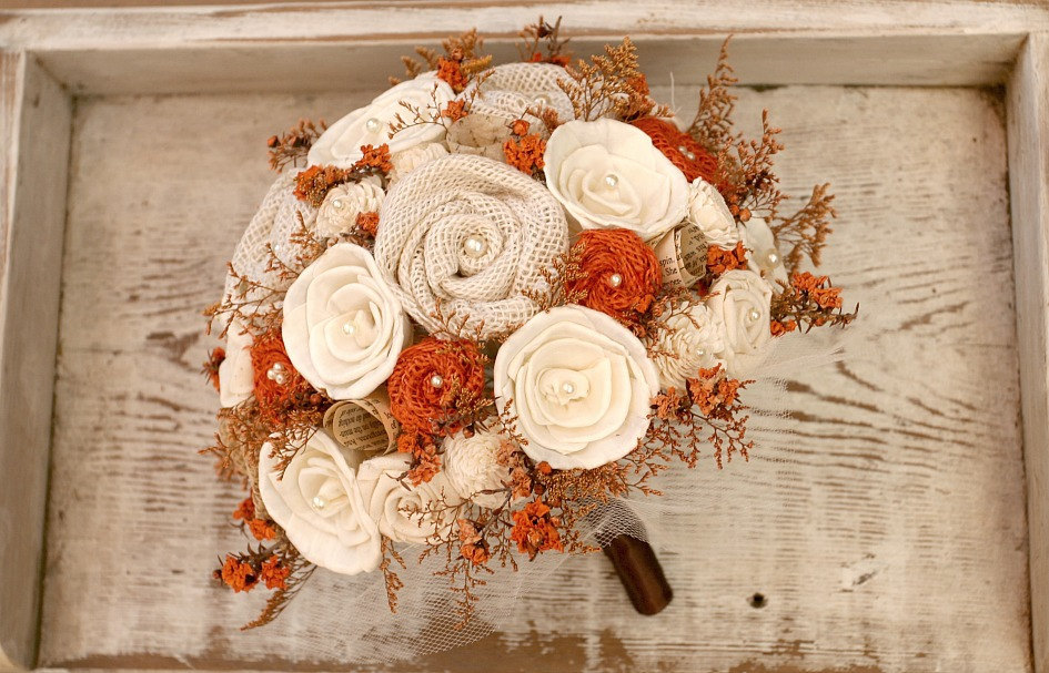 rustic fall alternative wedding bouquet with burlap roses