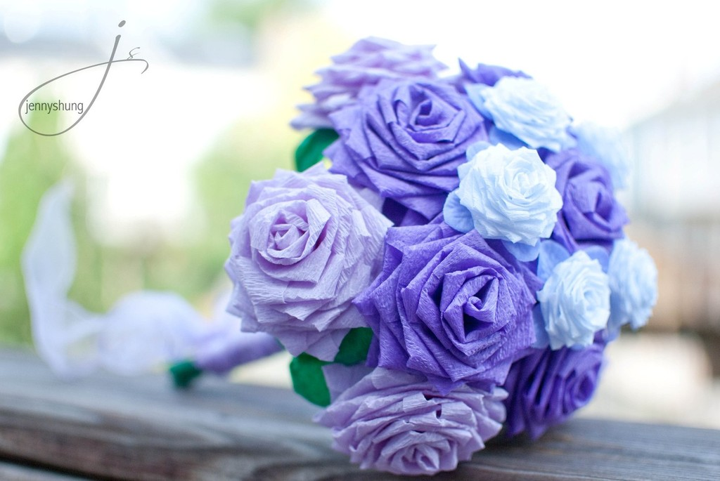 purple and white paper rose wedding bouquet