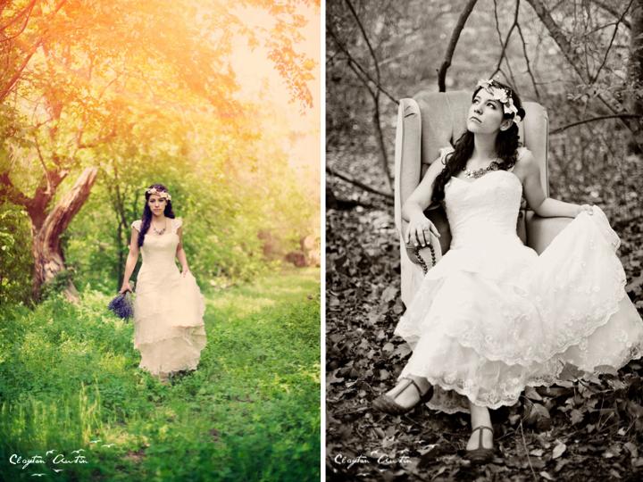 Boho chic bride poses for wedding photographer in rustic for Outdoor wedding photography poses