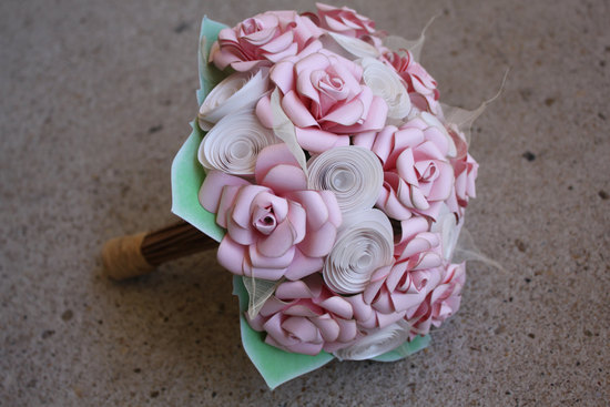 Pale pink paper flower wedding bouquet