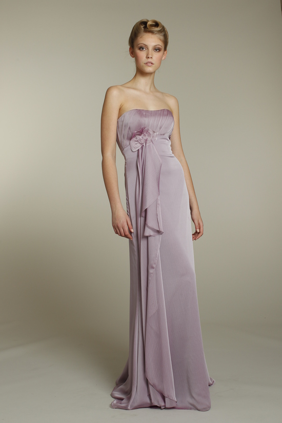 Romantic strapless chiffon bridesmaid dress