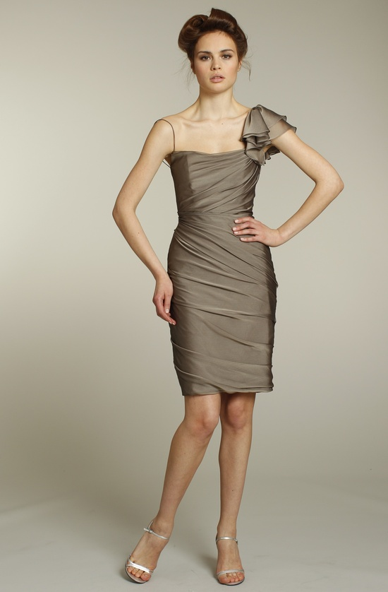 Shimmery taupe one-shoulder bridesmaid dress