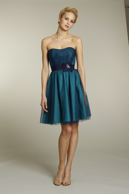 Strapless tulle above-the-knee bridesmaid dress