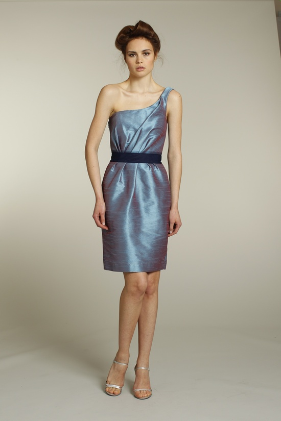 Iridescent one-shoulder bridesmaid dress