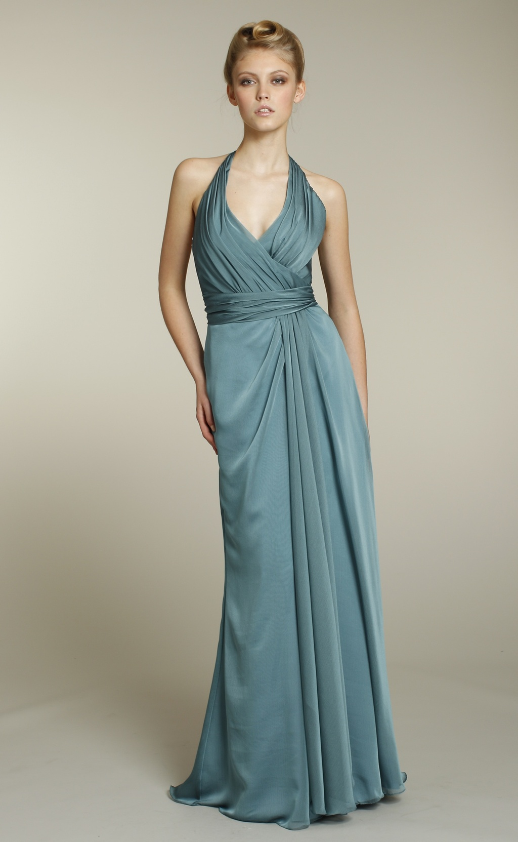 Full-length aqua chiffon bridesmaid dress