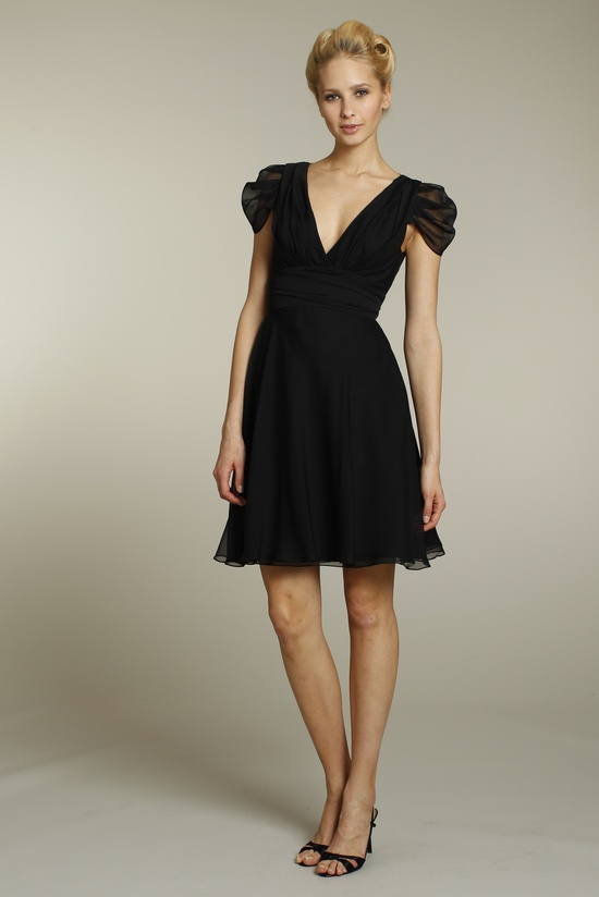 Black v-neck bridesmaid dress with cap sleeves