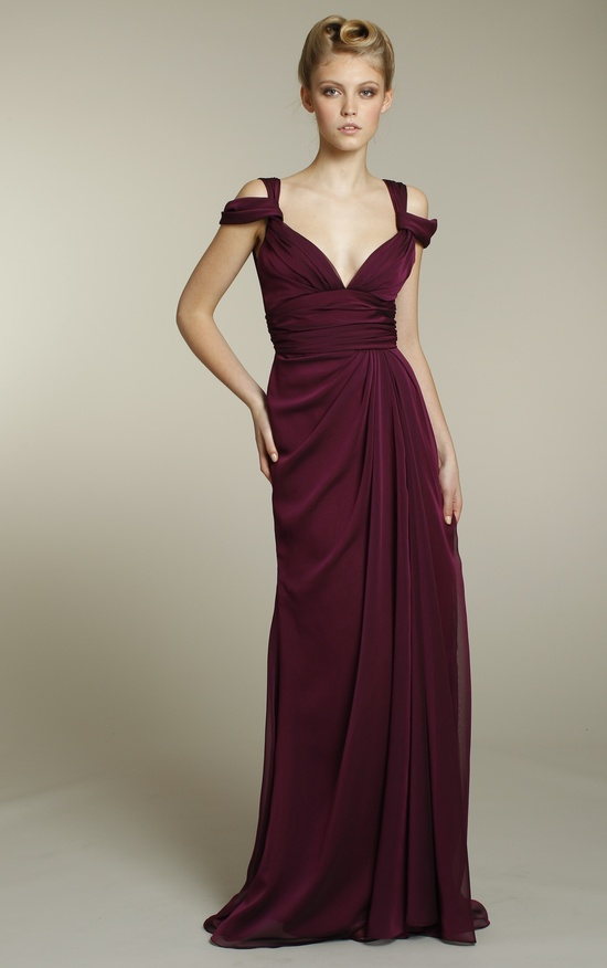 Long chiffon bridesmaids dress in rich maroon color