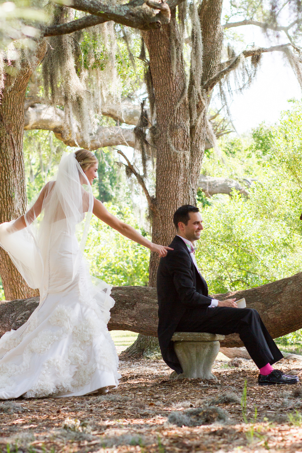 First look wedding approach bride taps groom on shoulder junglespirit Images