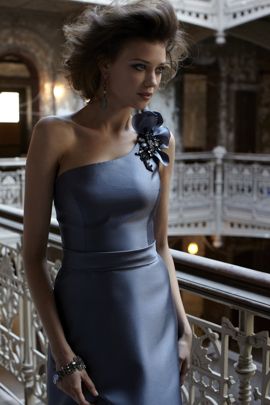 Luxe one-shoulder graphite grey bridesmaid dress