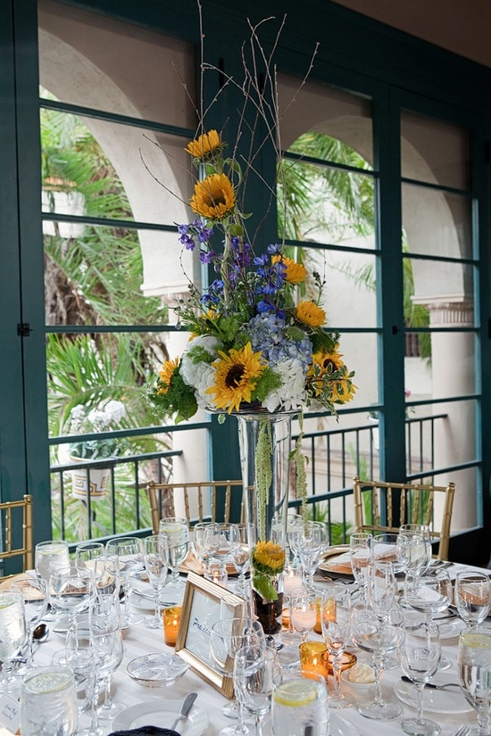 Rustic Chic Wedding Reception Centerpiece Featuring