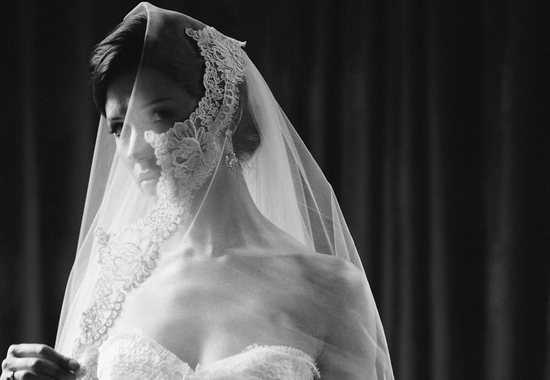 dramatic black and white bridal portrait