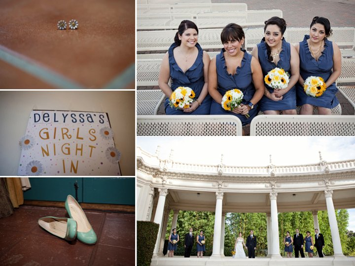 San Diego real wedding- bridesmaids wear blue dresses, clutch sunflower bouquets
