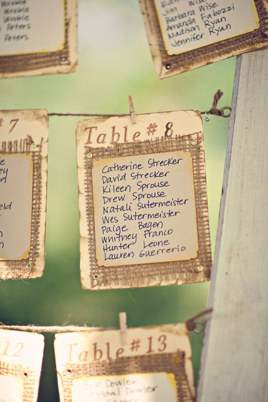 burlap vintage wedding table seating cards