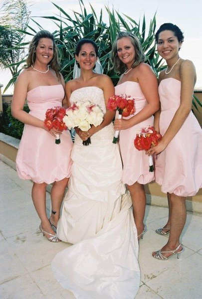 Ivory Pink Wedding Dress