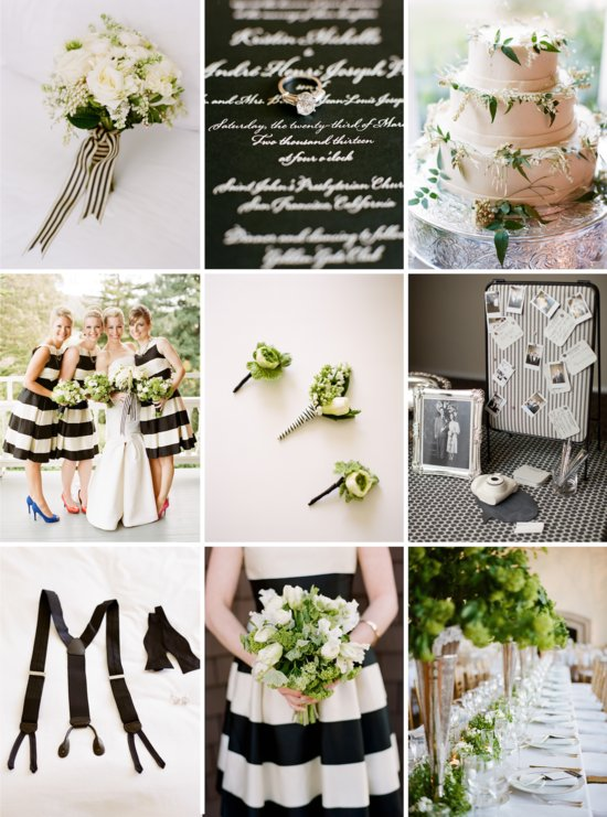 Modern wedding color palette of black white and green