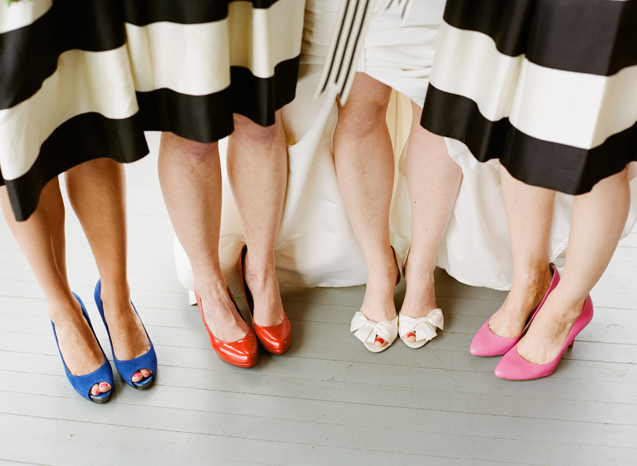 Bridesmaids wear mix and match shoes with striped frocks for What color shoes to wear with black dress to wedding