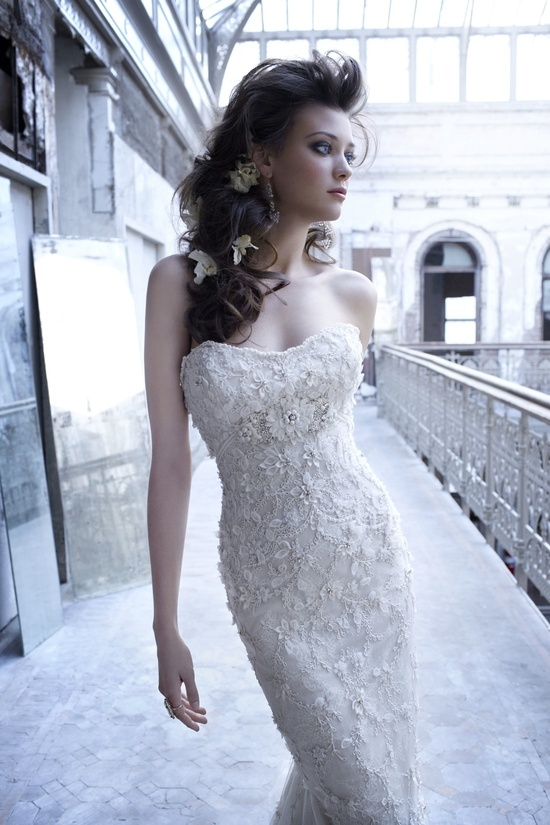Sleek embellished wedding dress