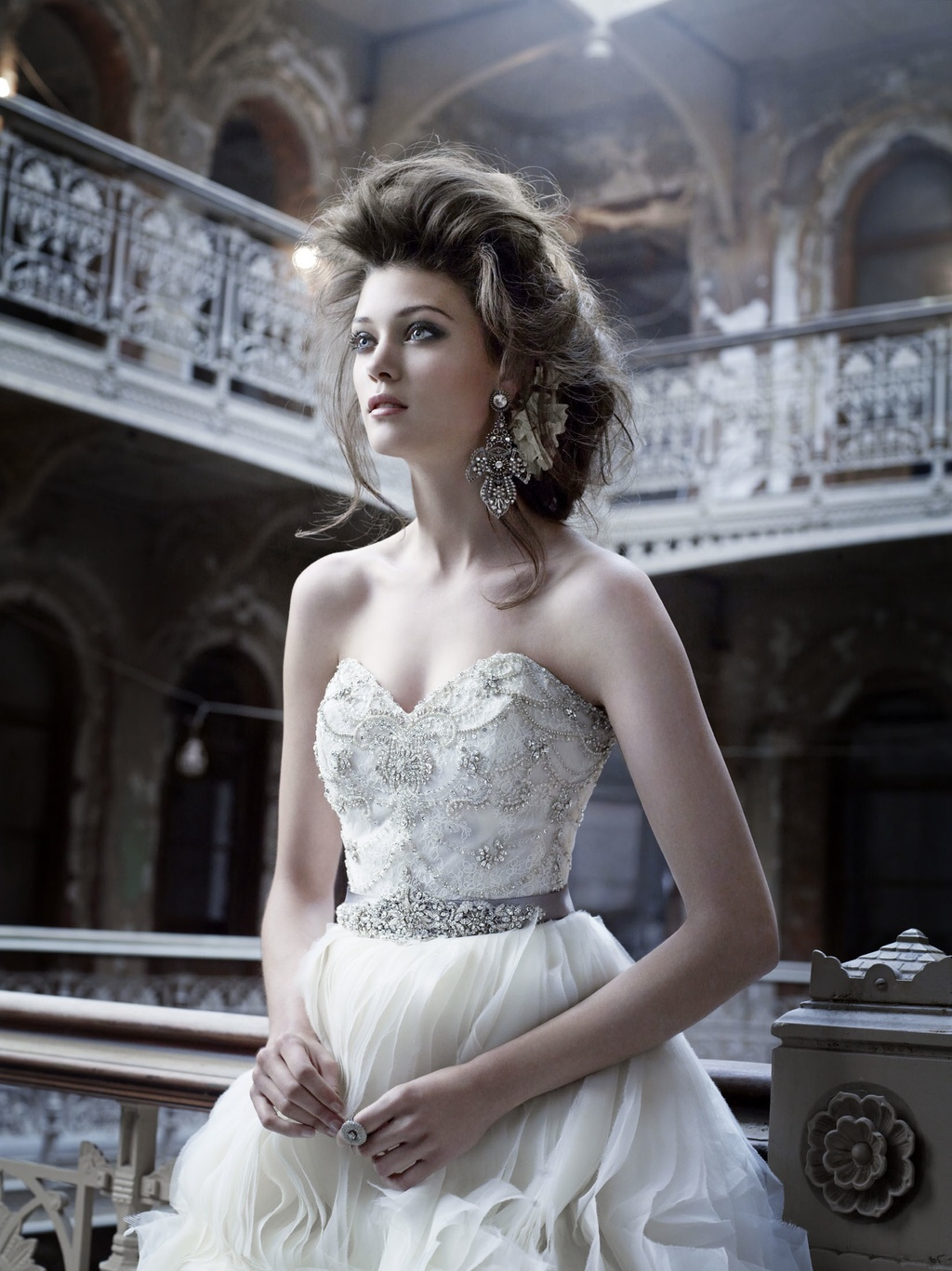 Romantic wedding dress with vintage inspired beading by Lazaro