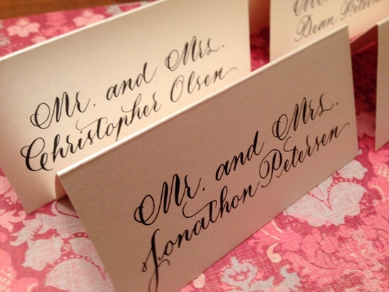 Traditional hand calligraphy, reception place cards
