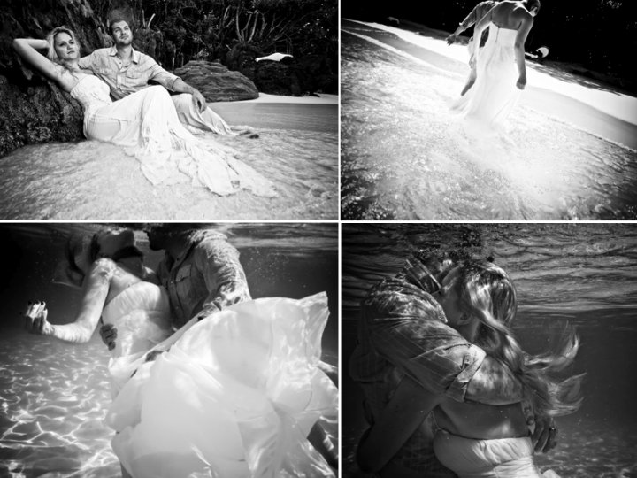 Black and white trash the dress wedding photos