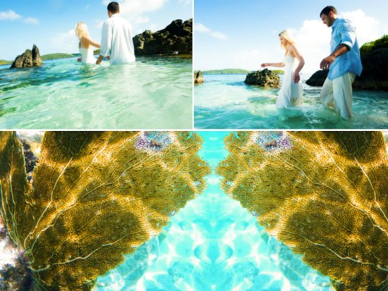 Caribbean trash the dress photo session with beach bride and groom