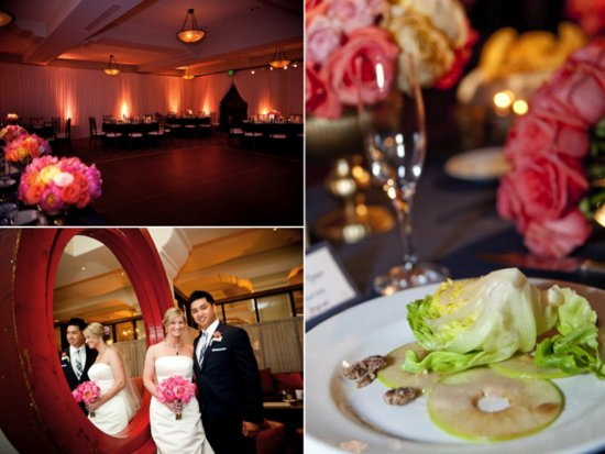 Elegant Santa Barbara ballroom wedding venue, delicious wedding reception catering