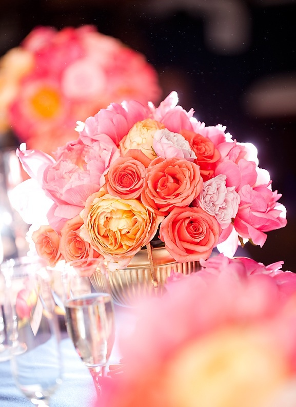 Coral, peach and pink wedding flower centerpieces