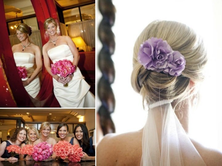Bride wears chic chignon for wedding hairstyle, pink peony bridal bouquet