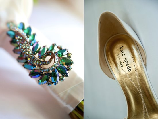 Something Blue brooch on bridal bouquet, chic Kate Spade wedding shoes
