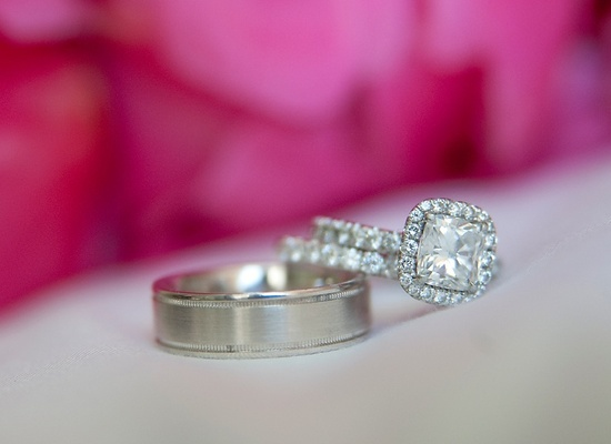 Cushion cut diamond engagement ring and groom's wedding band