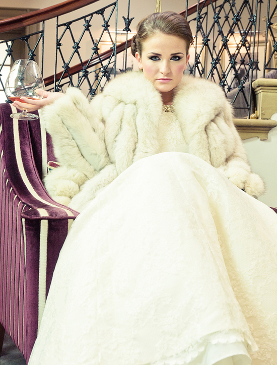 fur wedding jacket for classic winter brides
