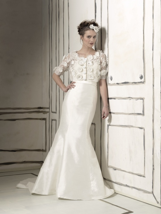Classic mermaid wedding dress with embellished bridal bolero