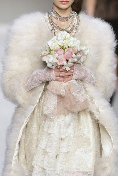 Marabou bridal coat by Versace