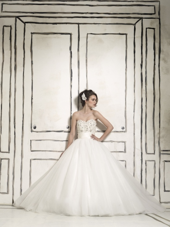 Tulle ballgown wedding dress with embellished bodice
