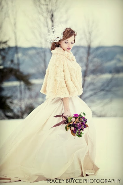 cream fur bridal shrug