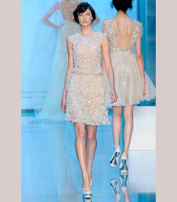 Romantic blush Elie Saab wedding dress with beading and lace aplique