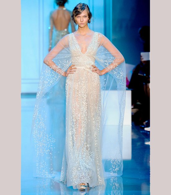 Beaded Elie Saab bridal gown with cap sleeves
