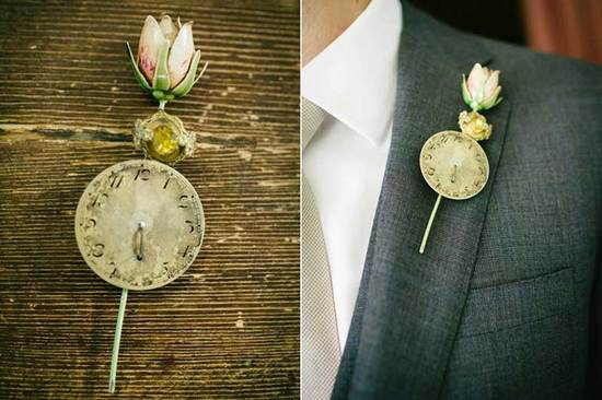 vintage clock grooms boutonniere