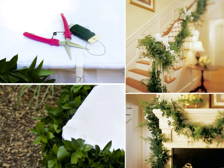 Simple DIY wedding flower project- lush green garland