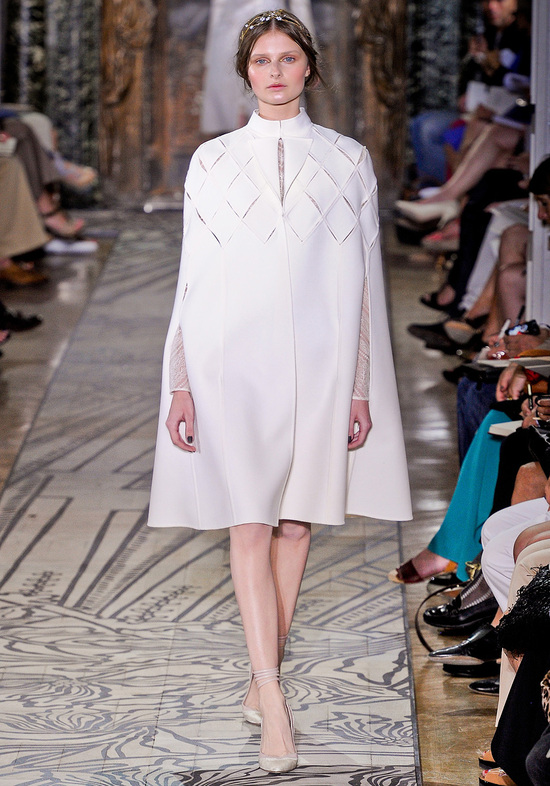 Ivory wedding cape by Valentino