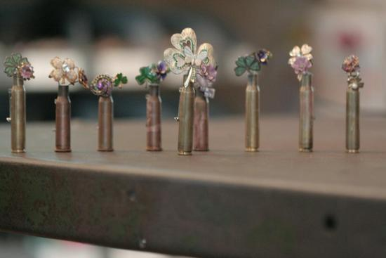 bullet casing and vintage jewels grooms boutonnieres