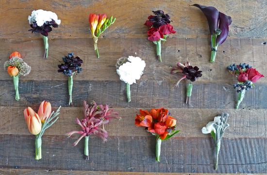 assorted groom boutonnieres by bunch studio