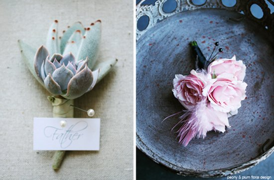 Fancy boutonnieres by Peony and Plum