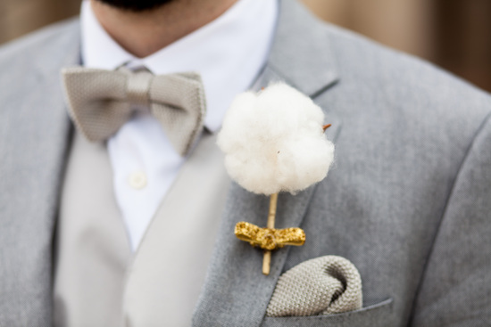 gilded cotton grooms boutonniere