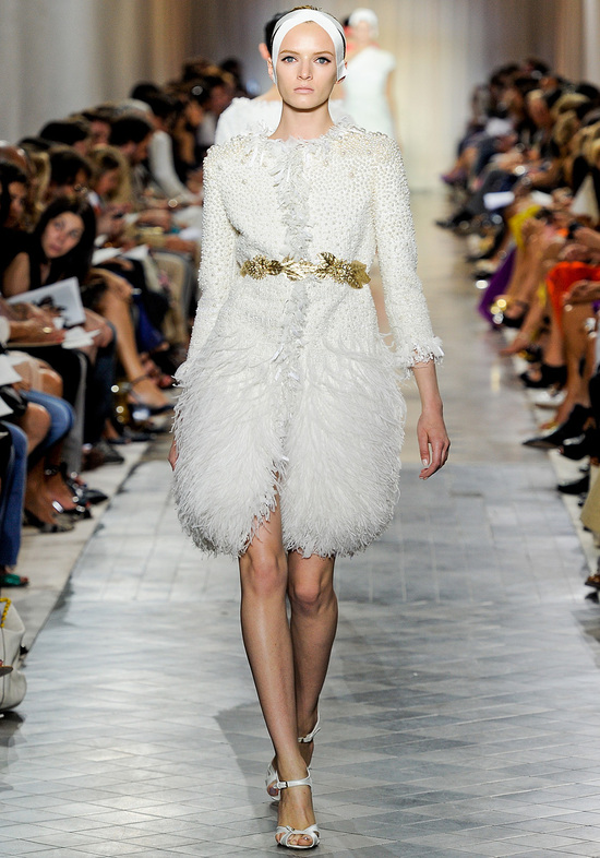 Jackie O-inspired white bridal coat and gold belt
