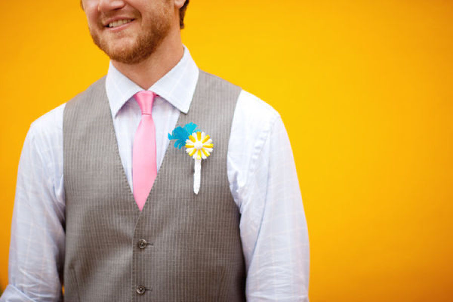 Funky-aqua-yellow-and-white-grooms-boutonniere.full