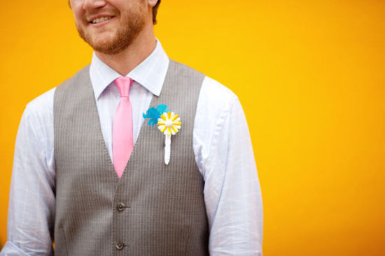 funky aqua yellow and white grooms boutonniere