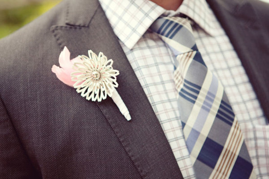 whimsical ivory pale pink and silver wedding boutonniere