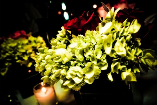 Tropical wedding reception flowers